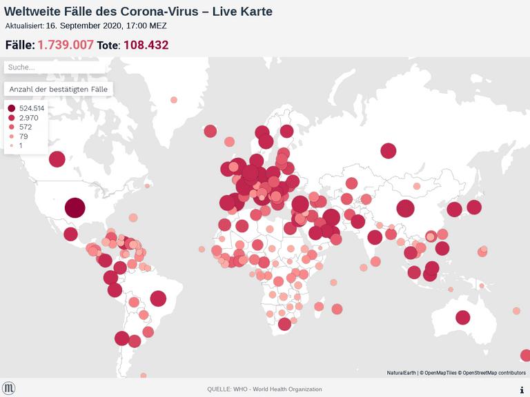 Weltweite Fälle des Corona-Virus – Live Karte