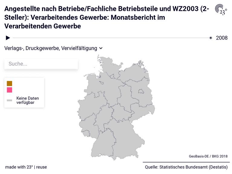 Angestellte nach Betriebe/Fachliche Betriebsteile und WZ2003 (2-Steller): Verarbeitendes Gewerbe: Monatsbericht im Verarbeitenden Gewerbe