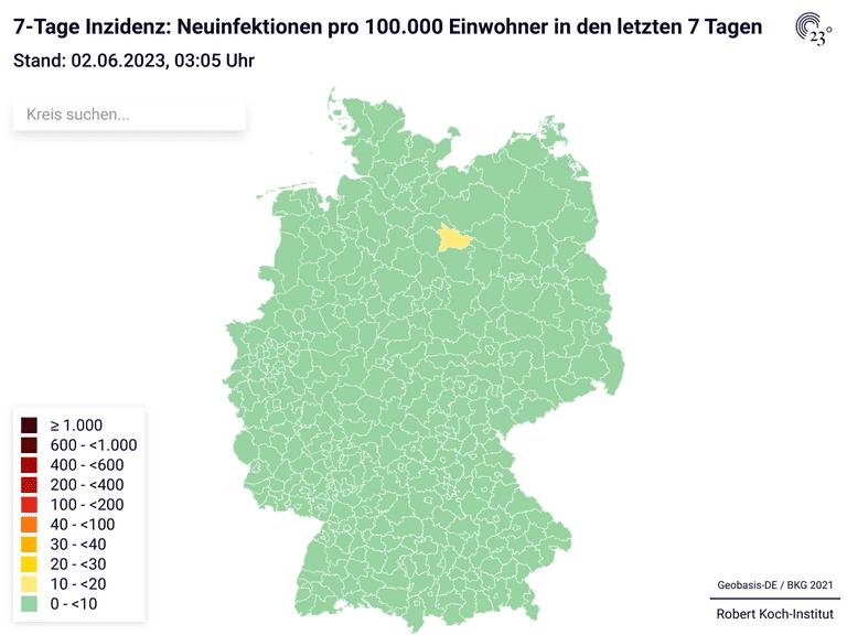 7-Tage Inzidenz: Neuinfektionen pro 100.000 Einwohner in den letzten 7 Tagen