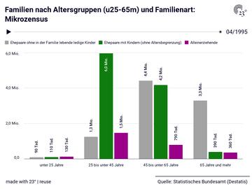 Familien nach Altersgruppen (u25-65m) und Familienart: Mikrozensus