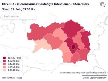COVID-19 (Coronavirus): Bestätigte Infektionen - Steiermark