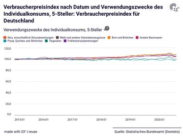 Verbraucherpreisindex nach Datum und Verwendungszwecke des Individualkonsums, 5-Steller: Verbraucherpreisindex für Deutschland