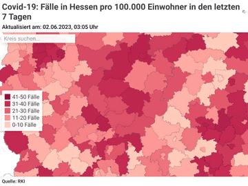 Covid-19: Fälle in Hessen pro 100.000 Einwohner in den letzten 7 Tagen