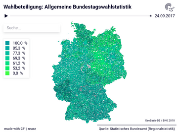 Allgemeine Bundestagswahlstatistik: Gemeinden, Stichtag, Wahlberechtigte, Wahlbeteiligung, Gültige Zweitstimmen