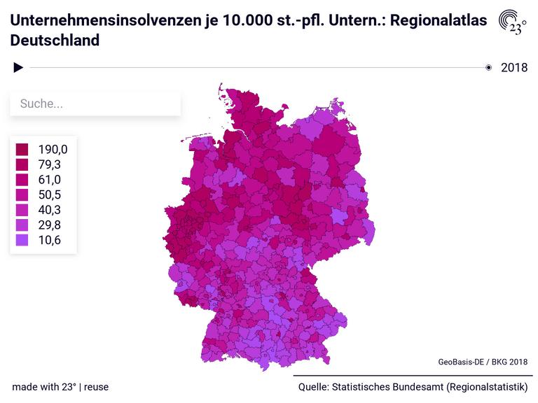 Unternehmensinsolvenzen je 10.000 st.-pfl. Untern.: Regionalatlas Deutschland