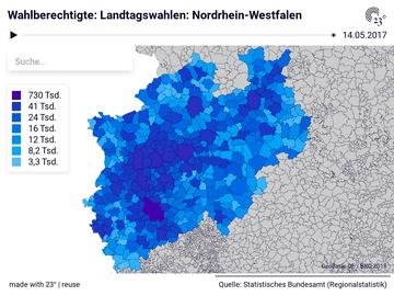 Wahlberechtigte: Landtagswahlen: Nordrhein-Westfalen