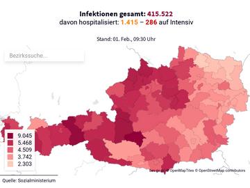 Bestätigte Infektionen in Österreich (pro 100.000 Einwohner)