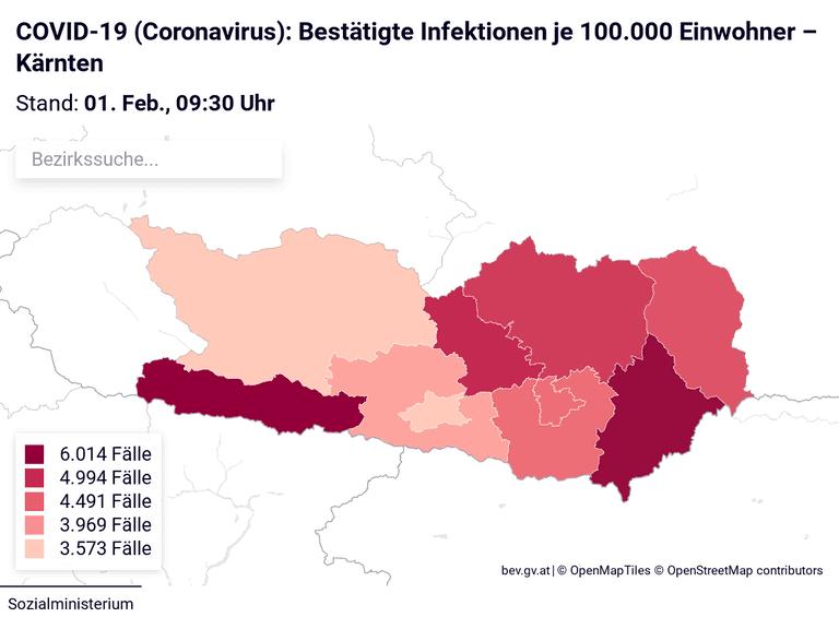 COVID-19 (Coronavirus): Bestätigte Infektionen je 100.000 Einwohner – Kärnten