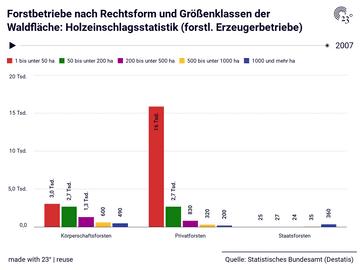 Forstbetriebe nach Rechtsform und Größenklassen der Waldfläche: Holzeinschlagsstatistik (forstl. Erzeugerbetriebe)