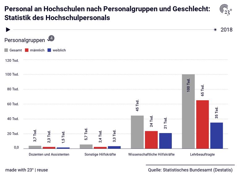 Personal an Hochschulen nach Personalgruppen und Geschlecht: Statistik des Hochschulpersonals