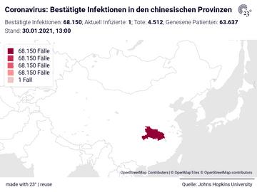 Coronavirus: Bestätigte Infektionen in den chinesischen Provinzen