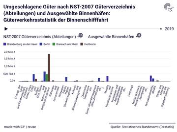 Güterverkehrsstatistik der Binnenschifffahrt: NST-2007 Güterverzeichnis (Abteilungen), Ausgewählte Binnenhäfen, Jahr, Umgeschlagene Güter
