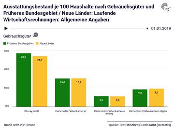 Ausstattungsbestand je 100 Haushalte nach Gebrauchsgüter und Früheres Bundesgebiet / Neue Länder: Laufende Wirtschaftsrechnungen: Allgemeine Angaben