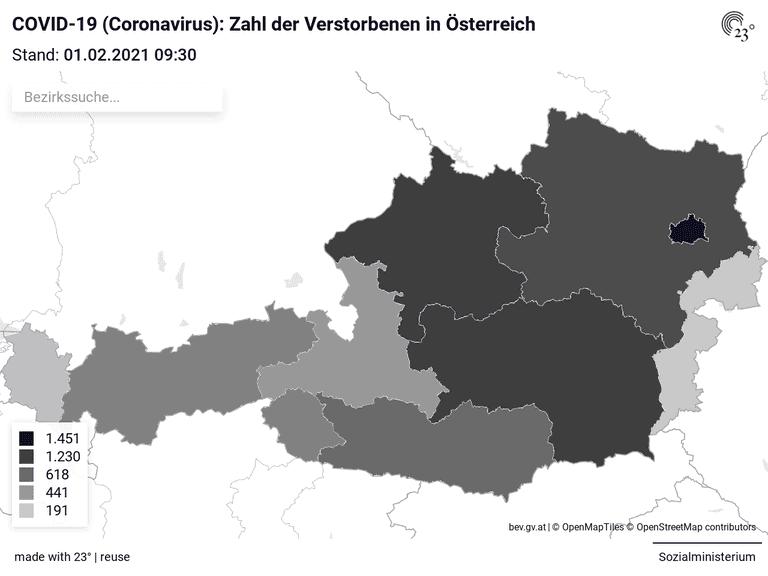 COVID-19 (Coronavirus): Zahl der Verstorbenen in Österreich