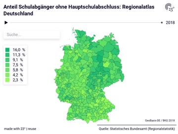Anteil Schulabgänger ohne Hauptschulabschluss: Regionalatlas Deutschland