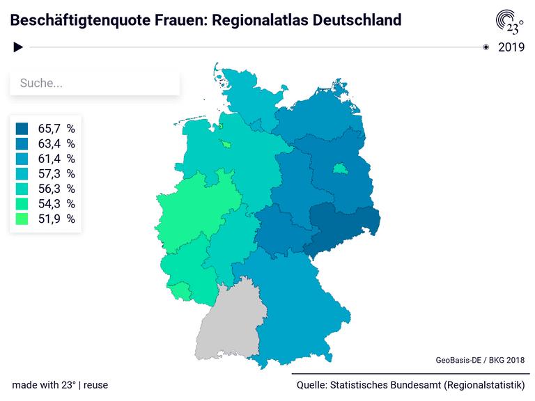 Beschäftigtenquote Frauen: Regionalatlas Deutschland