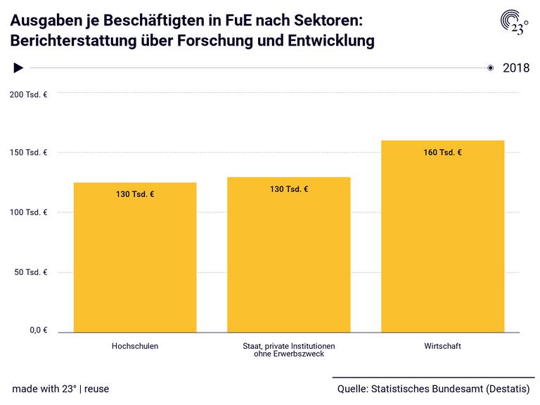 Ausgaben je Beschäftigten in FuE nach Sektoren: Berichterstattung über Forschung und Entwicklung