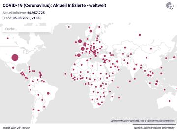 COVID-19 (Coronavirus): Aktuell Infizierte - weltweit