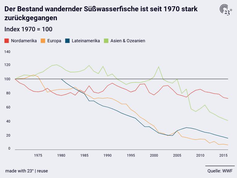 Der Bestand wandernder Süßwasserfische ist seit 1970 stark zurückgegangen