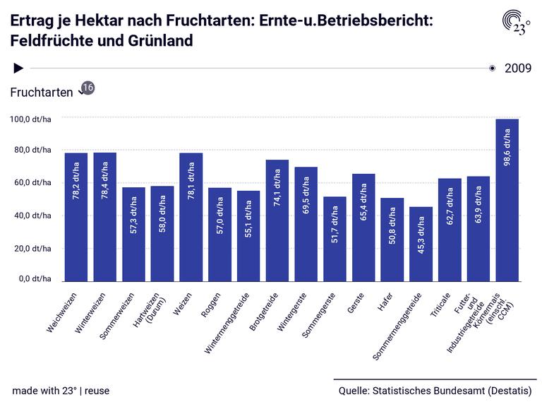 Ertrag je Hektar nach Fruchtarten: Ernte-u.Betriebsbericht: Feldfrüchte und Grünland