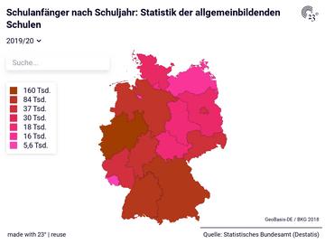 Schulanfänger nach Schuljahr: Statistik der allgemeinbildenden Schulen