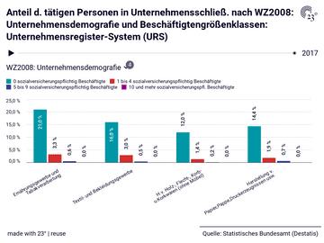 Anteil d. tätigen Personen in Unternehmensschließ. nach WZ2008: Unternehmensdemografie und Beschäftigtengrößenklassen: Unternehmensregister-System (URS)
