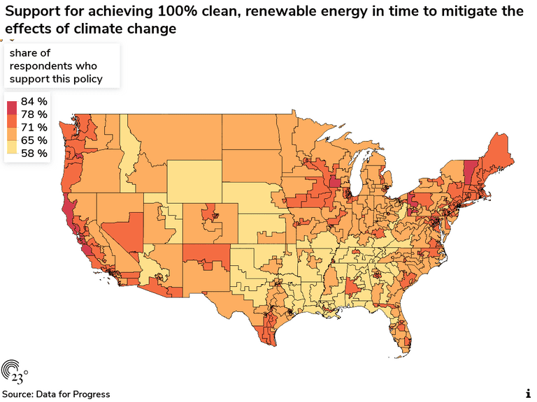 Support for achieving 100% clean, renewable energy in time to mitigate the effects of climate change