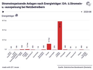 Stromeinspeisende Anlagen nach Energieträger: Erh. ü.Stromein- u.-ausspeisung bei Netzbetreibern