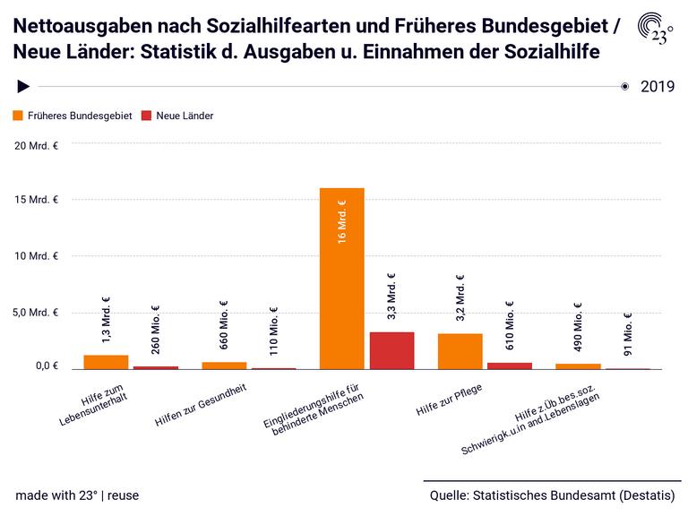 Nettoausgaben nach Sozialhilfearten und Früheres Bundesgebiet / Neue Länder: Statistik d. Ausgaben u. Einnahmen der Sozialhilfe