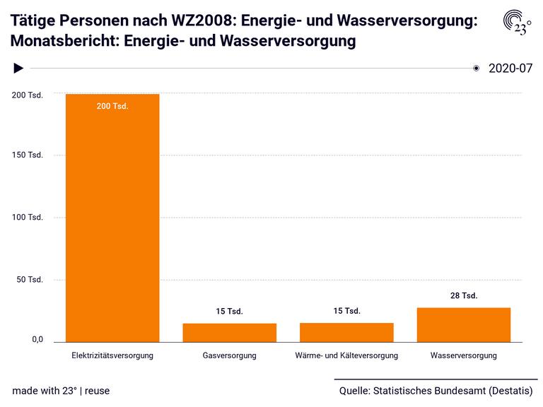 Tätige Personen nach WZ2008: Energie- und Wasserversorgung: Monatsbericht: Energie- und Wasserversorgung
