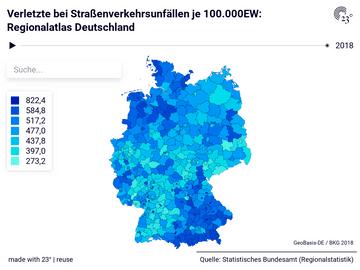 Verletzte bei Straßenverkehrsunfällen je 100.000EW: Regionalatlas Deutschland
