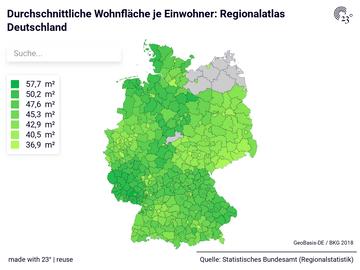 Durchschnittliche Wohnfläche je Einwohner: Regionalatlas Deutschland