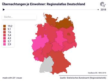 Übernachtungen je Einwohner: Regionalatlas Deutschland
