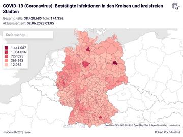 COVID-19 (Coronavirus): Bestätigte Infektionen in den Kreisen und kreisfreien Städten