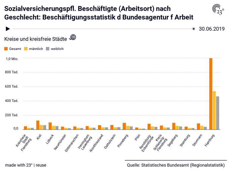 Sozialversicherungspfl. Beschäftigte (Arbeitsort) nach Geschlecht: Beschäftigungsstatistik d Bundesagentur f Arbeit