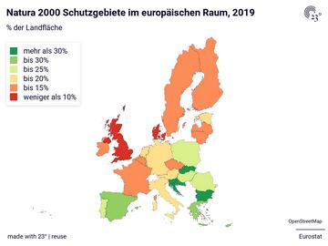 Natura 2000 Schutzgebiete im europäischen Raum, 2019